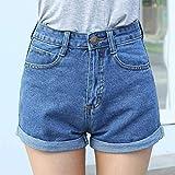 FENGLINZEKANG Jeansshorts mit hoher Taille und Knopfleiste Einfarbige, Kurze Jeans for Damen -