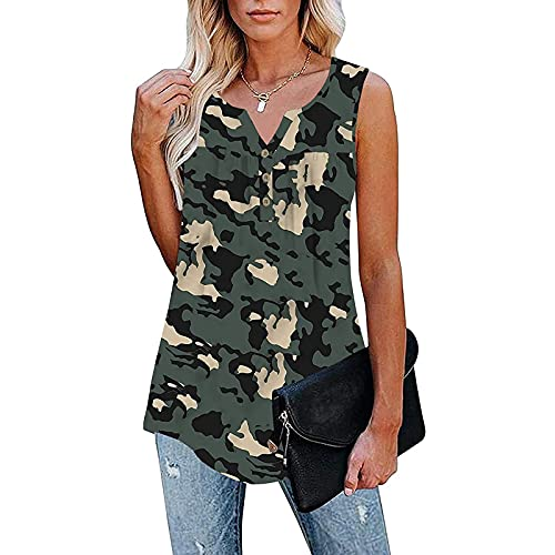 Ladies Shirts Ruffle Loose Button Up Tops Fashion Casual Blouses Summer Vests Womens Tunic Tops Soft Flowy Pleats Tunic Button Up Summer Women V-Neck Sleeveless Patchwork Tops Tunic Blouse Camouflage