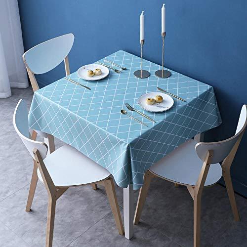 Kuingbhn Mantel Impermeable Pequeño Estilo Fresco PVC Anti Escaldado para Salón Cocina Comedor Antimanchas Verde Claro 140×200cm