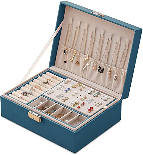 ARCHILE Jewellery Box Organizer Piccolo caso di stoccaggio dei gioielli di viaggio, organizzatore di gioielli a 2 strati con serratura e vassoio rimovibile per anelli Orecchini Collana Braccialetti Co