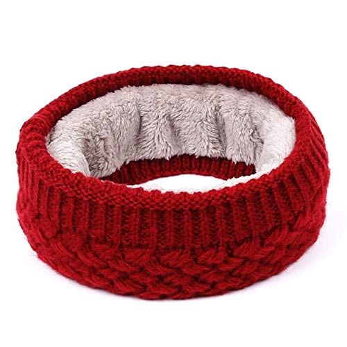 1PC Winter Warm Brushed Knit Neck Warmer Circle Go Out Wrap Cowl Loop Snood Shawl Outdoor Ski Climbing Scarf for Men Women - Dark Red
