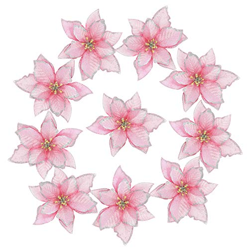 Christmas Glitter Poinsettia 10Pcs Christmas Tree Ornament Artificial Flowers for Christmas Decorations (Pink)