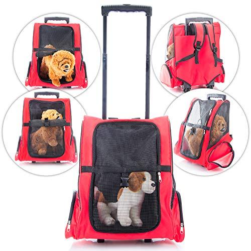 GOODS+GADGETS All Pets United Hunde-Trolley Kleintier Transportbox für Hunde und Katzen Tier-Trolley Haustier-Rucksack mit Teleskoparm (Hundetrolley)