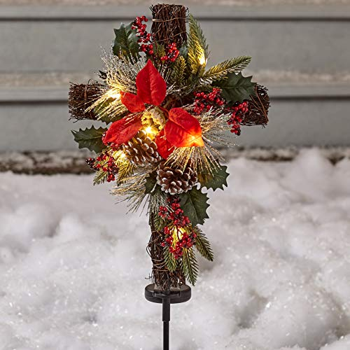 Solar Lighted Christmas Cross Stake with Faux Pine Cones