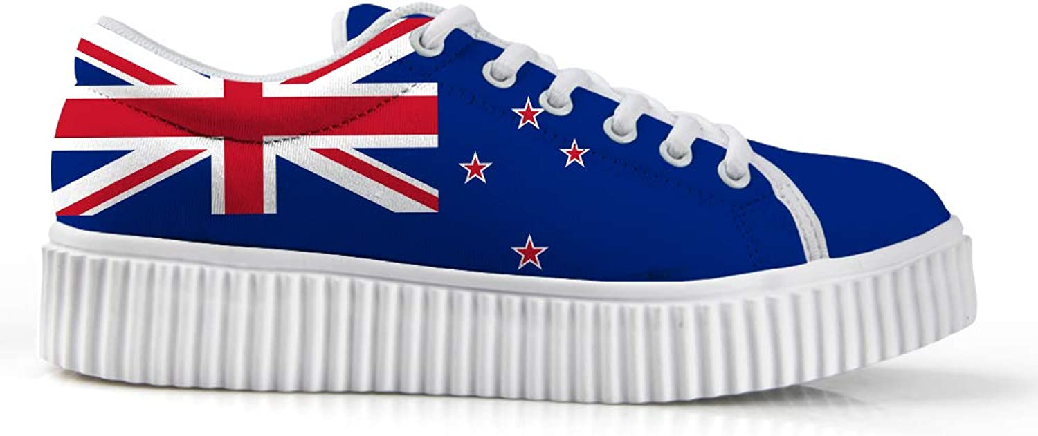 Owaheson Platform Lace up Sneaker Casual Chunky Walking shoes Low Top Women New Zealand Flag