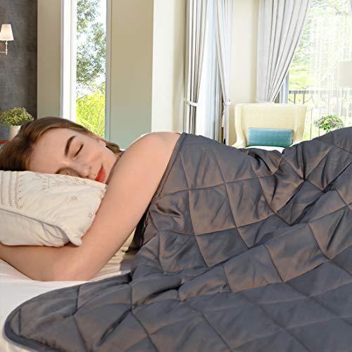 ZZZNEST Gewichtsdecke Bambusfaser, 6 kg Therapiedecke Anti Stress für Erwachsene und Kinder, Beschwerte Decke aus 100% Baumwolle, Schwere Decke für Angst und Schlafstörungen, 135x200 cm, grau