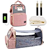 Happy Luoka 3 in 1 Diaper Bag Backpack with Changing Station, Travel Bassinet Foldable Baby Bed, Baby Bag Portable Crib, Mummy Bag with USB Charging Port (Bag+Crib+USB)