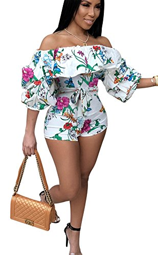 MENCCINO Womens Summer Short Rompers Floral Print Strapless Holiday Jumpsuits White L
