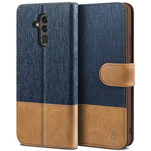 BEZ Handyhülle für Huawei Mate 20 Lite Hülle, Tasche Kompatibel für Huawei Mate 20 Lite, Handytasche Schutzhülle [Stoff und PU Leder] mit Kreditkartenhalter, Blaue Marine