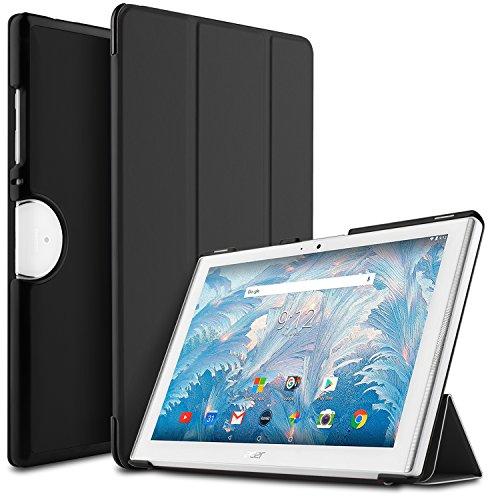 IVSO Acer Iconia One 10 (B3-A40) Hülle, Ultra Schlank Ständer Slim Leder zubehör Schutzhülle ideal geeignet für Acer Iconia One 10 B3-A40 2017 Tablet PC, Schwarz