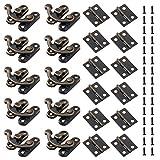 Fippy - Juego de 80 bisagras de caja pequeña y 40 juegos de cierre derecho antiguo con 480 tornillos de repuesto para caja de joyería de madera, decoración de cerrojo - tono bronce