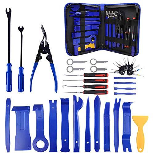 WUSHUN 38 piezas Auto Trim Removal Tool Kits, herramienta de desmontaje de coche, extractor de panel de audio, radio Removal Installer, reparación, elemento de fijación