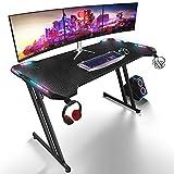 Mesa de juego RGB de 120 cm, gran mesa de juego para ordenador portátil de juegos, escritorio de ordenador, Gaming PC Pro revestido de carbono con portavasos fácil de montar