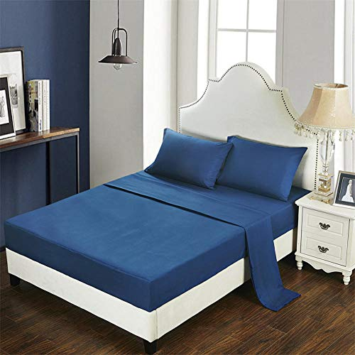 GTWOZNB Bed Sheets, Ultra Soft Silky Smooth and Wrinkle-Resistant Pure Color Brushed Bed Sheet-3-Navy Blue_137*190cm