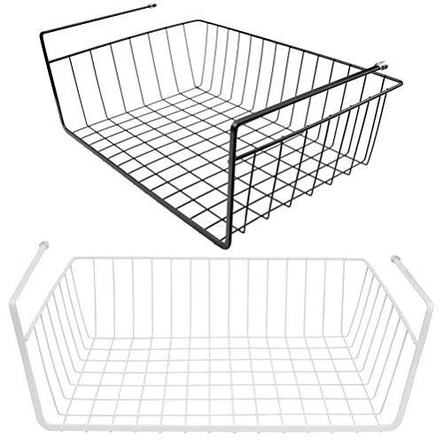Lawei 2 Stück Schrankkörbe Hängekorb Metall Schrankkorb Regal für Küchenschrank Kleiderschrank AufbewahrungsKorb - Schwarz & Weiß
