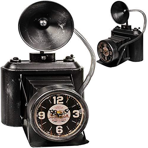 alles-meine.de GmbH große XL Tischuhr - Uhr - nostalgische Foto Kamera / Fotoapparat - aus Metall - 32 cm - batteriebetrieben - schleichendes Uhrwerk ! - Kamera Antik - Batterie ..