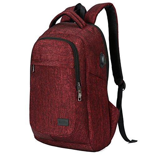 MarsBro, wasserresistenter Laptop-Rucksack (15,6-Zoll-Laptops) aus Polyester für Business oder Reisen rot weinrot