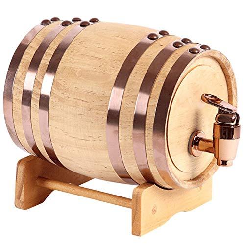 NEHARO Hölzernes Weinfass Whiskey-Zufuhr Weinfass aus Holz Whisky Trinken Brunnen for Partys Geschenke High Capacity - 10L (Farbe : Beige, Größe : 10L)