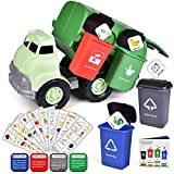 FUN LITTLE TOYS Garbage Truck Toy, Friction Powered Toy Trucks with 4 Garbage Cans and Back Dump for Kids, Sandbox Toys Outdoor Toys