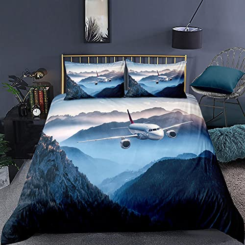 Sängkläder set berg topp flygplan supermjukt och mysigt lättskött påslakan täcke sängkläder set – 220 x 230 cm + 2 matchande örngott – 50 x 75 cm