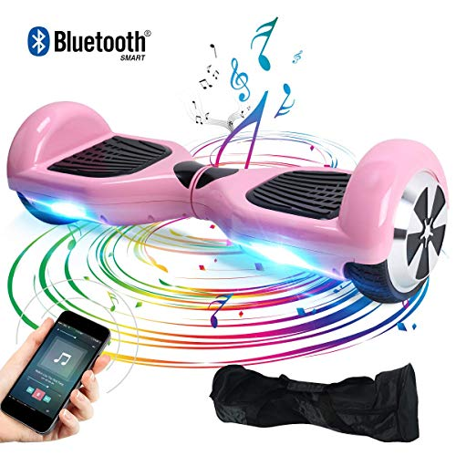 Windgoo Hoverboard, 6.5 Zoll Self Balance Scooter mit Bluetooth Lautsprecher, LED Lights Elektro Scooter E-Skateboard (Rosa)