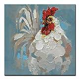 THTHT Artwork Ölgemälde Auf Leinwand Handgemalt, Unframed 3D Tier Gemälde, Weißes Huhn, Modernen Abstrakten Große Wand Kunst Dekor Für Wohnzimmer Schlafzimmer Büro Hotel