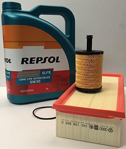 Repsol Pack Elite Long Life 5W30 507.00 504.00, 5 litros + Filtro Aceite y Aire Originales para Motores TDi
