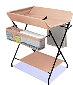 Changing Table Baby Changing Table with Storage Newborn Dresser Table Portable Diaper Organizer Cross Leg Style Toddler 0-3 Years Old  Color Khaki  Size