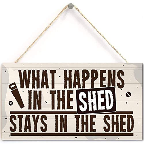 Lalagofe What Happens in The Shed Novelty Hanging Garage Garden Shed Sign Plaque Dad Grandad Gift
