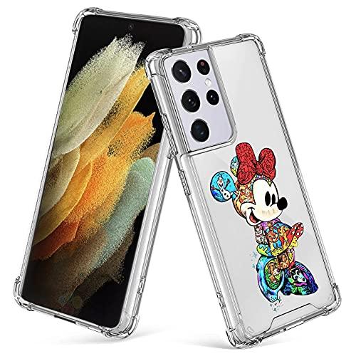 cuwana for Samsung Galaxy S21 Ultra 5G Case 6.8 Inch Minnie Mouse Cartoon Print Crystal Clear Slim Soft TPU Bumper Anti-Scratch Four Corners Cushion Shockproof Protection Hard Back Cover