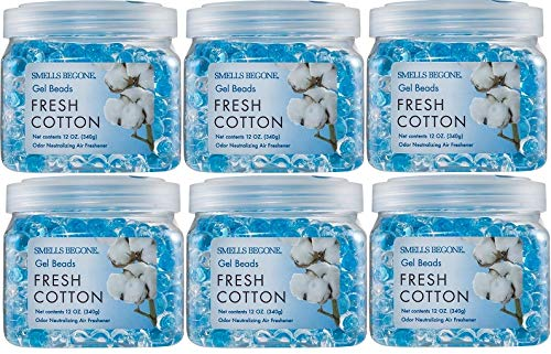 SMELLS BEGONE Odor Eliminator Gel Beads - Air Freshener - Eliminates Odors in Bathrooms, Boats, Cars, RVs & Pet Areas - Made with Essential Oils - Fresh Cotton Scent - 6 Pack
