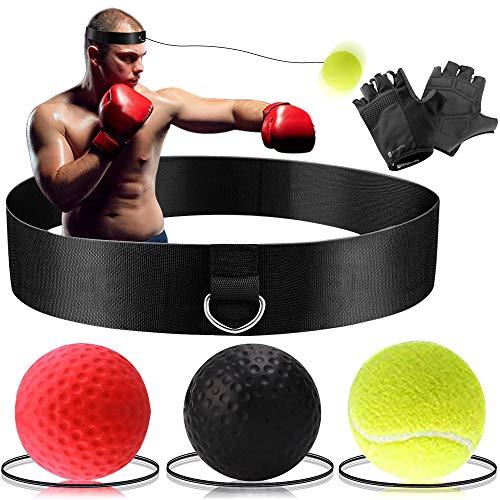 Wesho Pallina Boxe Palla da Boxe Reflex Palla da Boxe con 3 Livelli di difficoltà con Fascia per Capelli, Adatta per Reazione, agilità, velocità di Pugno Reflex Ball Boxe, Fight Ball Boxing