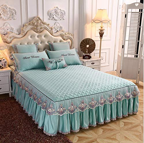 GSYHZL Hochwertige übergroße Spannbetttücher,Spitzenbett Rock Gesteppte Dicke Tencel Modal Bettdecke, Bettstickerei Tagesdecke-blau_180 * 220 + 45cm