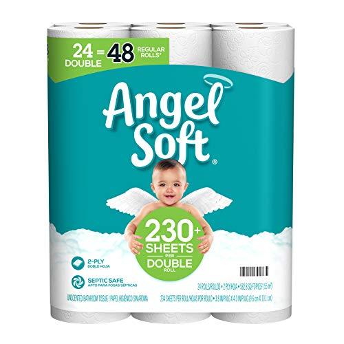 Angel Soft Toilet Paper, 24 Double Rolls=48 Regular Rolls, 230+ 2-Ply Sheets Per Roll