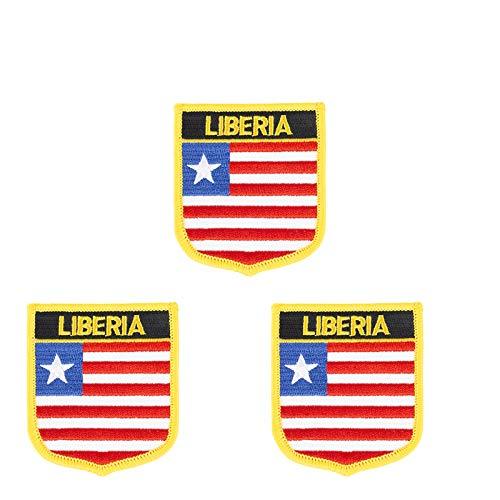 Aufnäher mit Liberia-Flagge, bestickt, Shild-Form, zum Aufbügeln oder Aufnähen, 3 Stück