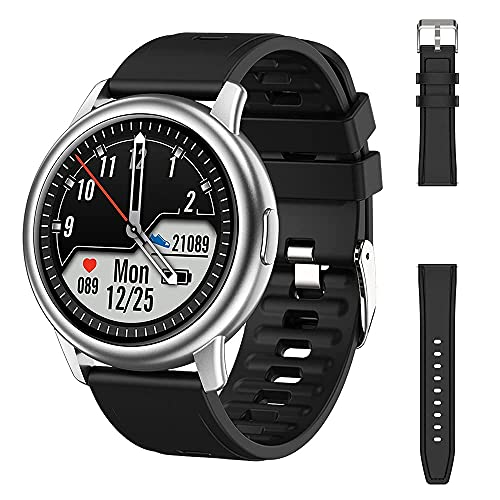 XYJ Smart Watch Men LF28 IP68 Impermeable Impermeable 30 Días Standby Heart Rate Monitor Sportwatch 2020 para Android iOS PK LF26, (Color: Silver Mental Negro) (Color : Silver Black Black)