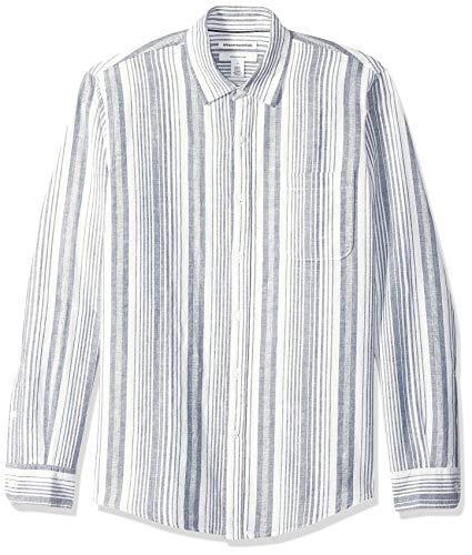 Amazon Essentials - Camicia da uomo in lino, con stampa, a maniche lunghe, aderente, Navy Stripe, US L (EU L)