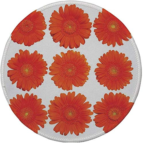 Rutschfreies Gummi-Rundmaus-Pad, Orange, Sammlung von Orange Gerberas Botanical Bouquet Saisonale Wachstumsgarten Frühlingsthema Dekorativ, Orange, 7.9