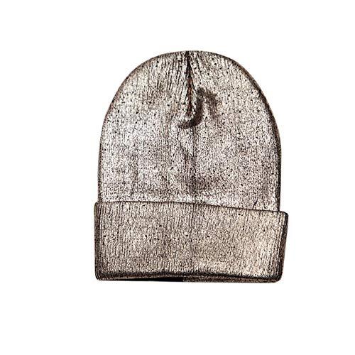 SXCYU Sombreros Divertidos de Invierno Gorra para Hombre Mantener cálido Gorrita Tejida de Hip-Pop Sombreros Sombreros de Dobladillo de Punto Oro Puprle Color Plateado, Dorado