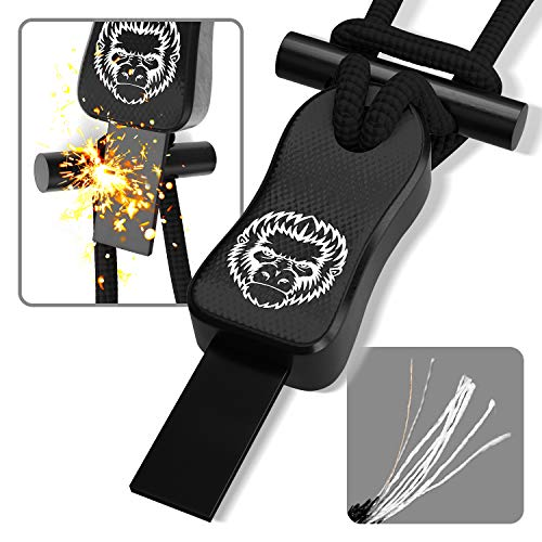Ferro Rod Survival Fire Starter Paracord Necklace - Light Adjustable 550 Paracord EDC & Bushcraft Gear with Ferro Rod & Scraper - Waterproof Wilderness Emergency Lanyard for Camping (Black G10)