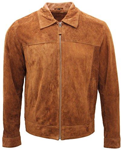 Infinity Leather Giacca Classica da Uomo in Pelle Scamosciata Color Marrone Chiaro 100% Vera Pelle di Camoscio L