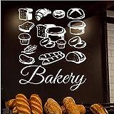 Wandaufkleber 55D Gebäck Wandaufkleber Bäckerei Brot Gebäck Wandtattoos Kuchen Kekse Lebensmittel Wandtattoo Fensteraufkleber Shop Logo Kunstwand 52X42Cm