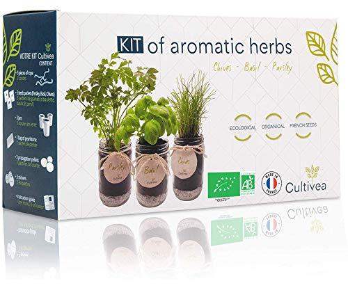 Cultivea Kit completo de hierbas - Kit completo de hierbas - Cultiva tus propias hierbas aromáticas - 100% ecológicas: semillas orgánicas (Cebollino, Albahaca, Perejil)