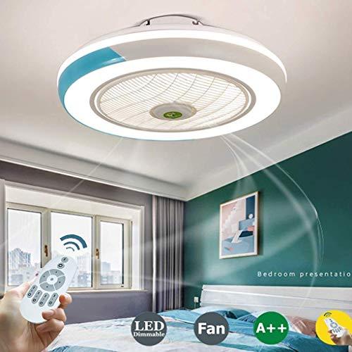 SKSNB Ventilador de Techo con iluminación, Ventilador de Techo con luz LED, Velocidad del Viento Ajustable, Control Remoto Regulable, lámpara de Techo LED Moderna, Color de Dormitorio de