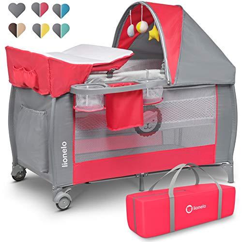 Lionelo Sven Plus - Cuna de viaje y parque infantil 2 en 1 para bebé desde el nacimiento hasta 15 kg, mosquitera, bolsa de transporte, plegable (rosa)