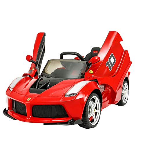 Modern-Depo Ferrari Laferrari 12V Kids Ride On Car Electric Vehicle with Remote Control, Leather Seat, Openable Scissor Doors, Racing Steering Wheel, MP3, Upgraded Version
