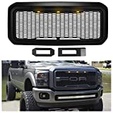 Front Grill for Ford F250/F350 2011-2016, Full Grille Replacement Amber LED Lights Included, Raptor Style Grill (Matte Black)