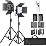 Neewer 2-Pack 2.4G LED Video Light with 2M Stand Bi-color 200 SMD CRI 96+/U-Bracket/Barndoor/LCD Display Video Lighting Kit for Studio Photography, Remote/Battery/Charger/Case Included