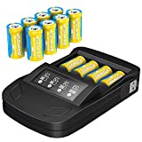 123A Batteries for Arlo Rechargeable, 8 Packs 3.7V 800mAh Battery and CR123A Charger for Arlo VMC3030 VMK3200 VMS3230 3330 3430 3530 Security Cameras, Flashlight, Microphone and so Much More