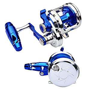 PROBEROS Fishing Conventional Jigging Reel Saltwater - Heavy Duty Deep Ocean Big Offshore Round Aluminum Trolling Reels 1PC Silver Blue Left-Hand